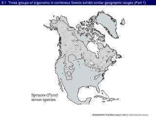 5.1  Three groups of organisms in coniferous forests exhibit similar geographic ranges (Part 1)