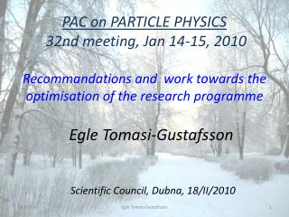 PAC on PARTICLE PHYSICS   32nd meeting, Jan 14-15, 2010  Recommandations and   work towards  the optimisation of the  r