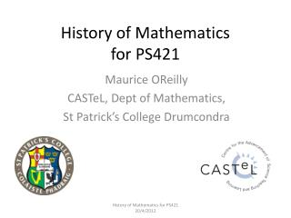 History of Mathematics  for PS421