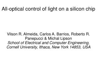 All-optical control of light on a silicon chip