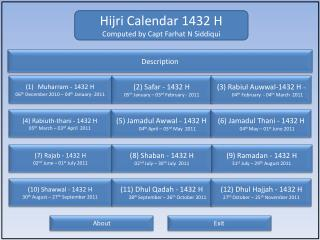 Hijri Calendar 1432 H Computed by Capt Farhat N Siddiqui