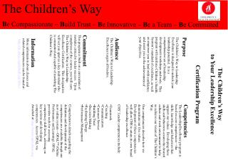 The Children's Way to Your Leadership Excellence Certification Program