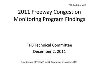 2011 Freeway Congestion Monitoring Program Findings