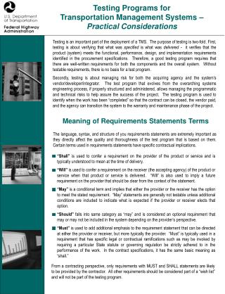 Testing Programs for  Transportation Management Systems –  Practical Considerations