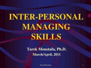 INTER-PERSONAL MANAGING SKILLS