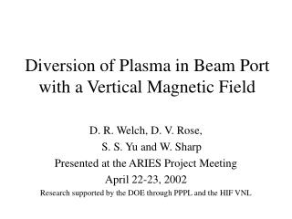 Diversion of Plasma in Beam Port with a Vertical Magnetic Field