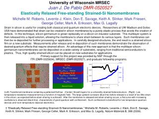 University of Wisconsin MRSEC Juan J. De Pablo  DMR-0520527 Elastically Relaxed Free-standing Strained-Si Nanomembranes