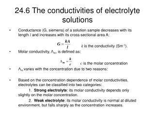 24.6 The conductivities of electrolyte solutions