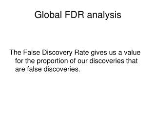 Global FDR analysis