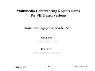 Multimedia Conferencing Requirements  for SIP Based Systems