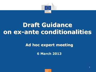 Draft  Guidance  on e x-ante conditionalit ies