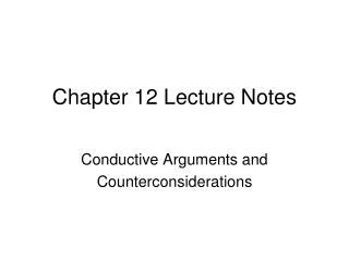 Chapter  12 Lecture Notes