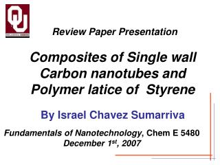 Composites of Single wall Carbon nanotubes and Polymer latice of  Styrene
