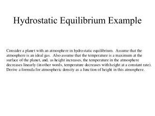 Hydrostatic Equilibrium Example