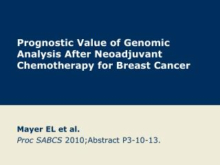 Prognostic Value of Genomic Analysis After Neoadjuvant Chemotherapy for Breast Cancer