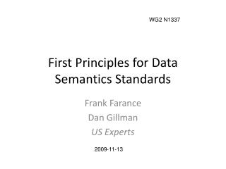 First Principles for Data Semantics Standards