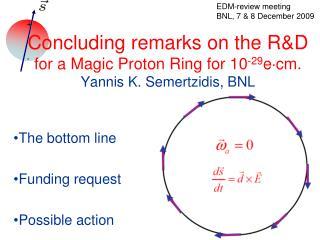 Concluding remarks on the R&D for a Magic Proton Ring for 10 -29 e  cm. Yannis K. Semertzidis, BNL