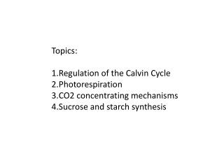 Topics: Regulation of the Calvin Cycle Photorespiration CO2 concentrating mechanisms Sucrose and starch synthesis