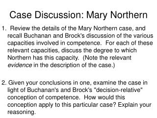 Case Discussion: Mary Northern