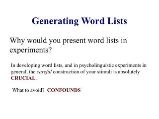 Generating Word Lists