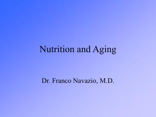 Nutrition and Aging