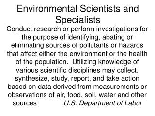 Environmental Scientists and Specialists