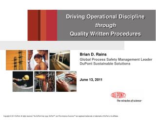 Driving Operational Discipline  through  Quality Written Procedures