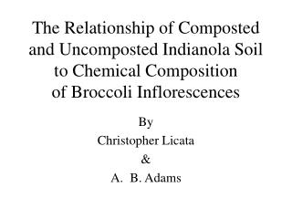 The Relationship of Composted and Uncomposted Indianola Soil to Chemical Composition of Broccoli Inflorescences