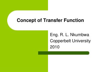Concept of Transfer Function