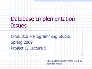 Database Implementation Issues