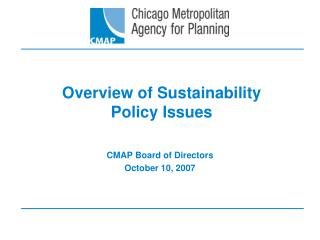 Overview of Sustainability  Policy Issues