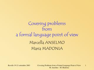 Covering problems from a formal language point of view