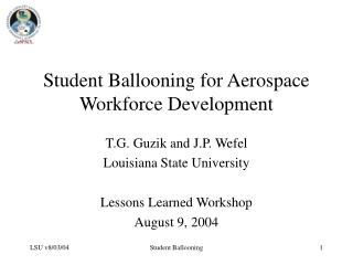 Student Ballooning for Aerospace Workforce Development