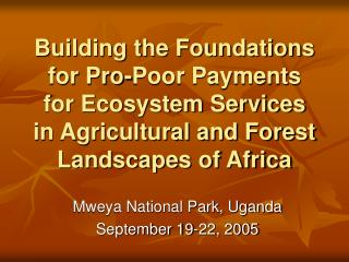 Building the Foundations for Pro-Poor Payments for Ecosystem Services in Agricultural and Forest Landscapes of Africa