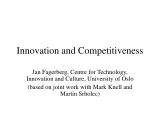 Innovation and Competitiveness