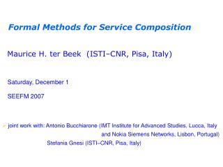 Formal Methods for Service Composition