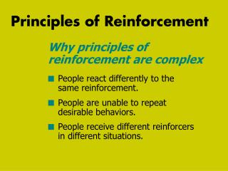 Principles of Reinforcement