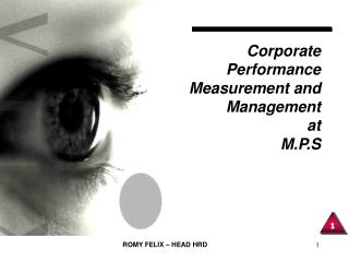 Corporate Performance  Measurement and Management at M.P.S