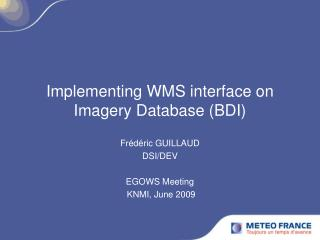 Implementing WMS interface on Imagery Database (BDI)