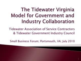 The Tidewater Virginia Model for Government and Industry Collaboration