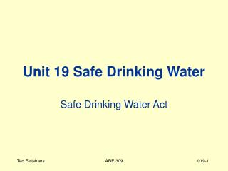 Unit 19 Safe Drinking Water