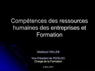 Compétences des ressources humaines des entreprises et Formation