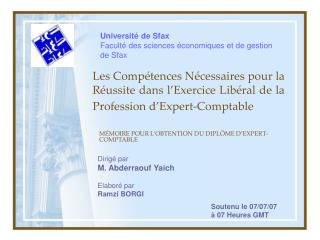 Les Compétences Nécessaires pour la Réussite dans l'Exercice Libéral de la Profession d'Expert-Comptable