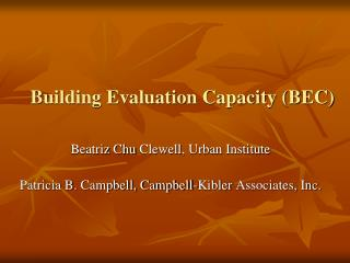 Building Evaluation Capacity (BEC)
