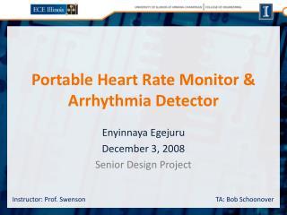 Portable Heart Rate Monitor  Arrhythmia Detector