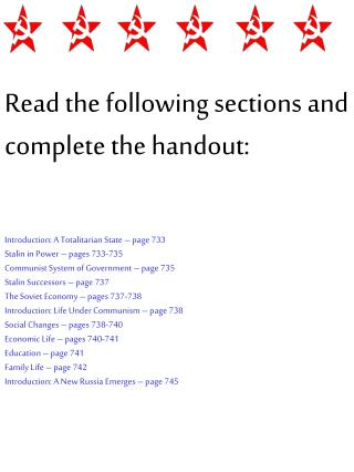 Read the following sections and complete the handout: