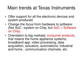 Main trends at Texas Instruments