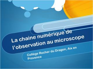La chaine numérique de l ' observation au microscope