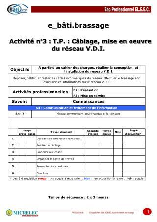 Activit� n�3 : T.P. : C�blage, mise en oeuvre  du r�seau V.D.I.