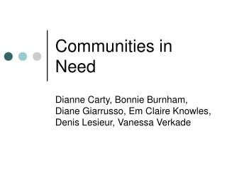 Communities in Need